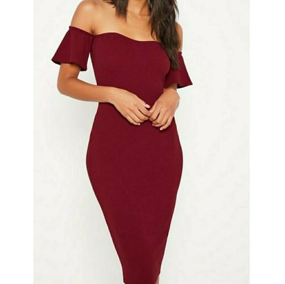 5464226c19cd0 Burgundy Bardot Missguided Dress